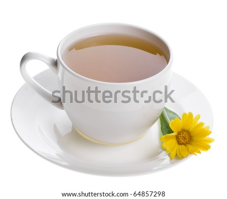 tea with calendula herb with fresh berries  isolated on white background  - stock photo