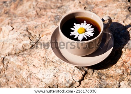 Tea with chamomile on old big stone. With place for text. - stock photo