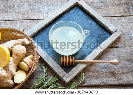 Tea with ginger and lemon/toned photo - stock photo