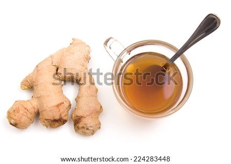 Tea with ginger on a white background seen from above - stock photo