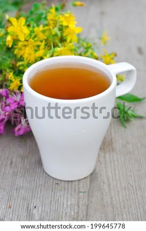 tea with herbs - stock photo