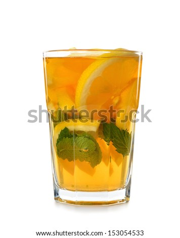Tea with lemon and mint isolated on white background