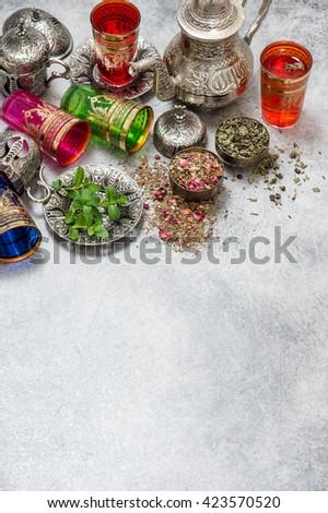 Tea with mint leaves. Herbal tea. Green tea. Oriental hospitality concept. Ramadan kareem - stock photo