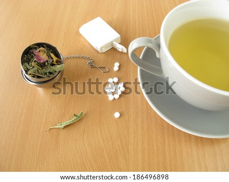 Tea with sweetener tablets  - stock photo