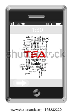 Tea Word Cloud Concept on a Touchscreen Phone with great terms such as cup, hot, drink and more.