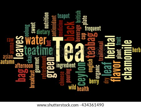Tea, word cloud concept on white background.
