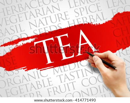 TEA word cloud, health concept