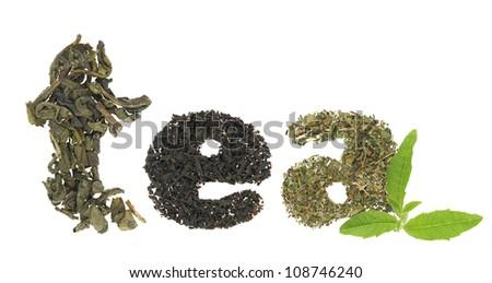 Tea word made of tea varieties - stock photo