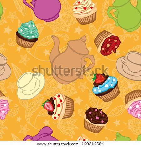 Tea yellow background  with cupcakes - stock photo