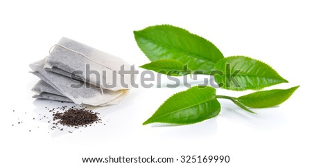 Teabag and tea Isolated on white background - stock photo