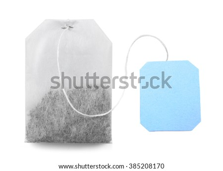 Teabag with blue label isolated on white background - stock photo