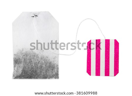 Teabag with red striped label isolated on white background