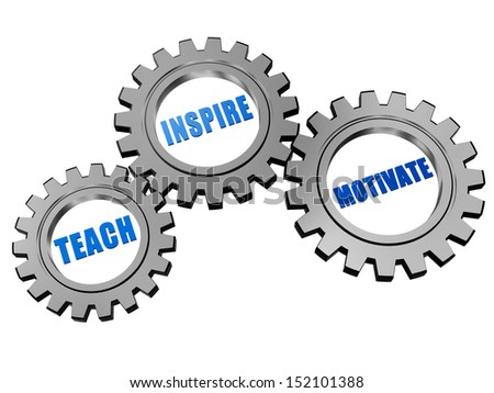 teach, inspire, motivate - text in 3d silver grey gearwheels, education motivation concept words - stock photo