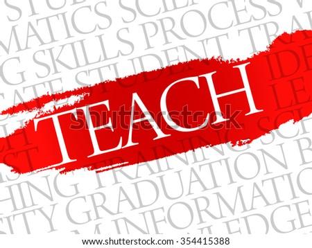 TEACH Word cloud education concept background - stock photo