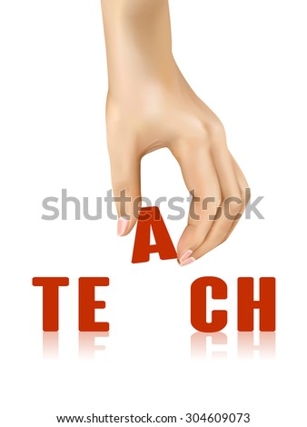 teach word taken away by hand over white background