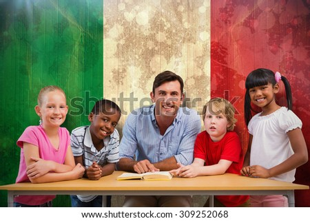 Teacher and pupils smiling at camera at library against italy flag in grunge effect - stock photo