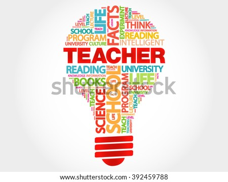 TEACHER bulb word cloud, business concept - stock photo