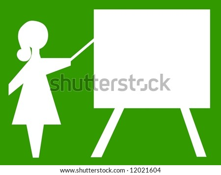 teacher businesswoman pointing board conference