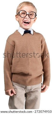 Teacher. Cheerful smiling boy on a green background. - stock photo