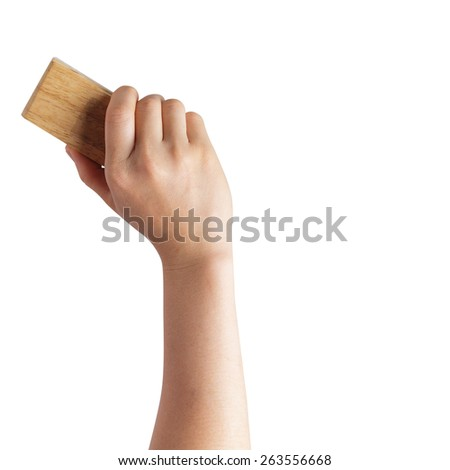 Teacher cleaning the chalkboard - stock photo