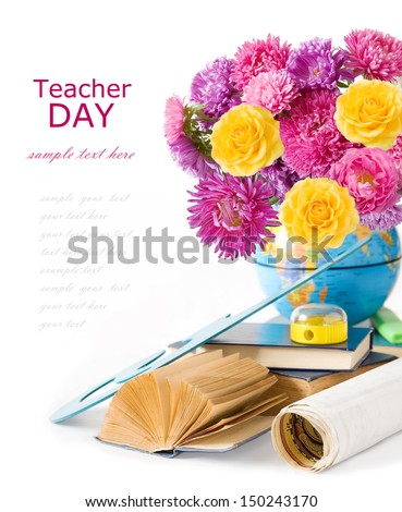 Teacher Day (flowers bunch, books and map isolated on white background with sample text) - stock photo