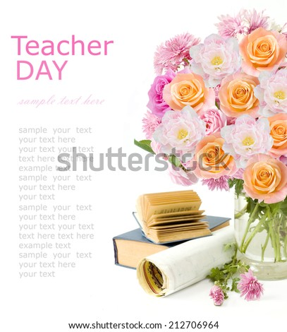 Teacher day (flowers bunch with roses, tulips and asters, map and books isolated on white) - stock photo
