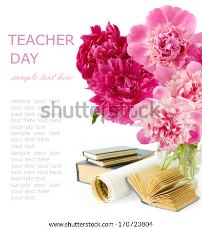 Teacher day (peony flowers bunch, map and books isolated on white background) - stock photo