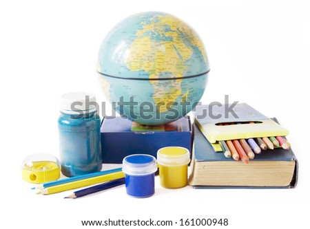 Teacher Day (still life with books, colorful pencil and globe isolated on white background) - stock photo