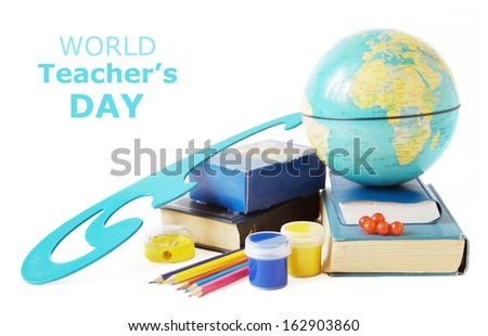 Teacher Day (still life with books, pens and globe isolated on white background) - stock photo