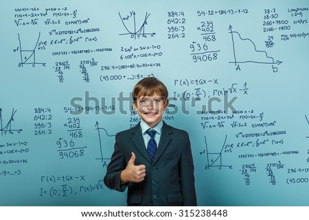 Teacher learned professor teenager boy shows gesture but science mathematical formulas math problem Infographics photo studio