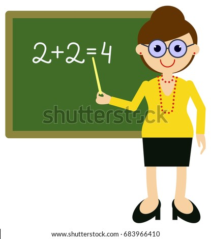 teacher near blackboard raster clip art stock illustration 683966410 rh shutterstock com clip art teacher kids clip art teacher kids
