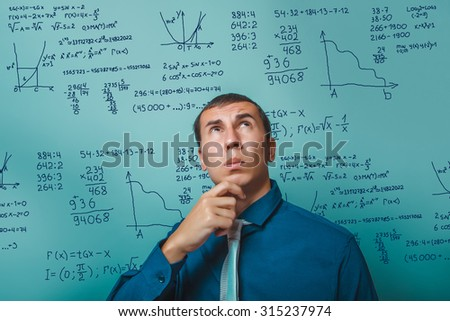 Teacher professor science scientist thinks looking up mathematical formulas math problem Infographics photo studio