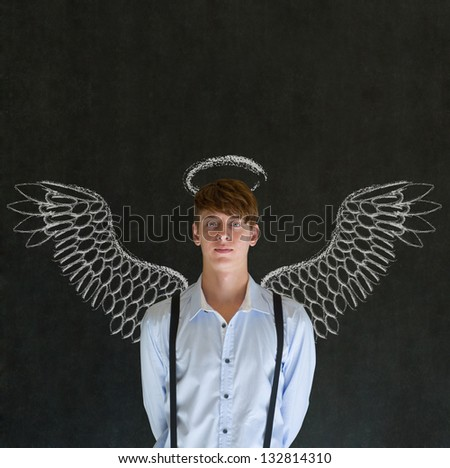 Teacher, salesman, student or business angel investor man with chalk wings and halo - stock photo
