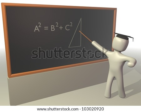 Teacher standing by blackboard teaching mathematics