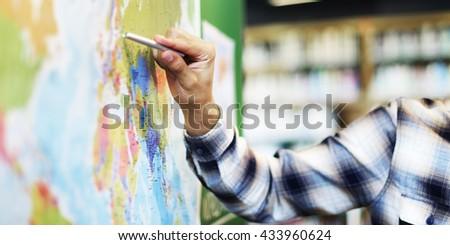 Teacher Teach Teaching Geography Global Lesson Concept - stock photo