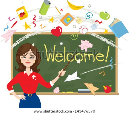 Teacher Welcomes Unhappy Students on the First Day Back to School - stock photo