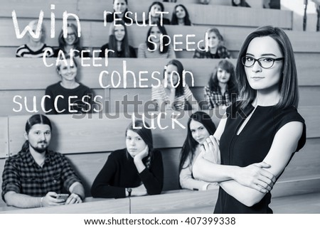 Teacher with crossed hands  - stock photo