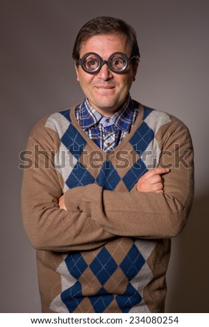 teacher with funny glasses, studio picture