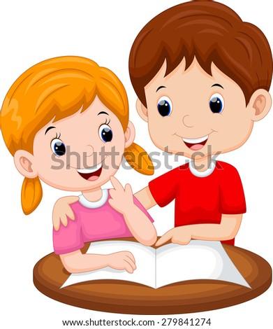 Teaching sister cartoon - stock photo