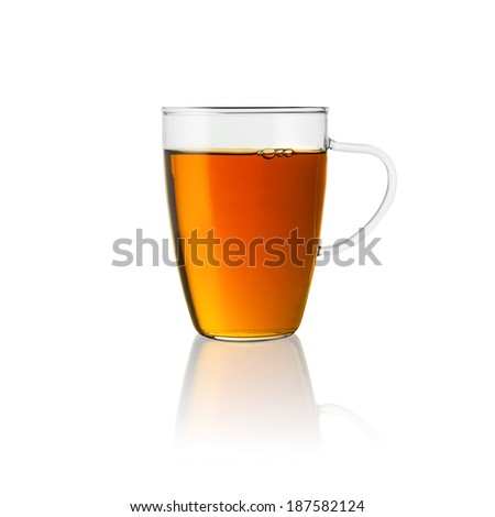 teacup tea hot drink aroma isolated on white background with reflection - stock photo
