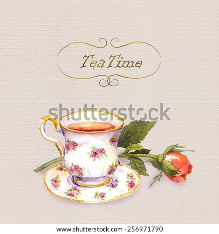Teacup with tea and rose flower. Watercolour postcard