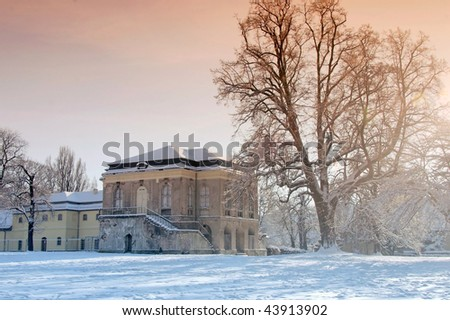 Teahouse of the castle at Altenburg, with snow-covered landscape - stock photo