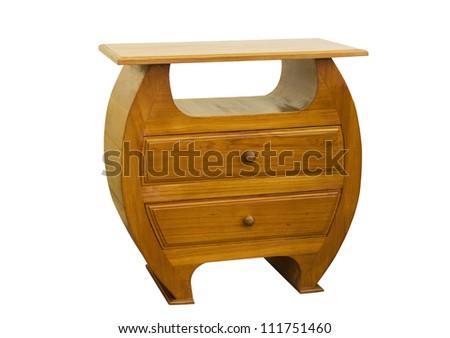 Teak Cabinets ,Teak furniture on white background - stock photo