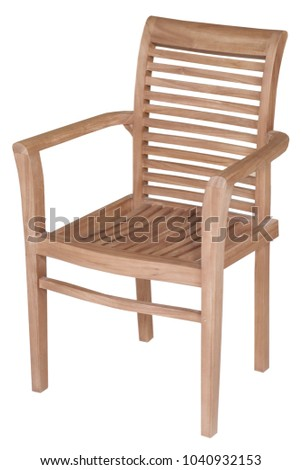 Teak Garden Furniture, Chair Teak Garden Furniture Isolated In White  Background