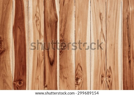 teak wood plank with natural pattern for design and decoration - stock photo