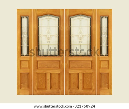Teak wooden door with frosted glass interior on isolated background. - stock photo