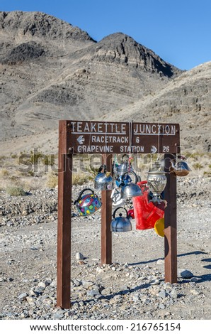 Teakettle Junction on the Racetrack Road in Death Valley National Park, California - stock photo