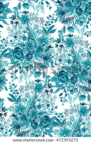 teal and aqua floral monochromatic pattern. beautiful artistic  illustrations. seamless repeating bouquets design.