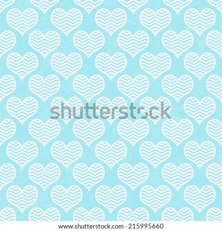 Teal and White Chevron Hearts Pattern Repeat Background that is seamless and repeats - stock photo