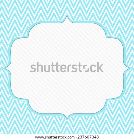 Teal and White Chevron Zigzag Frame Background with center for copy-space, Classic Chevron Zigzag Frame - stock photo